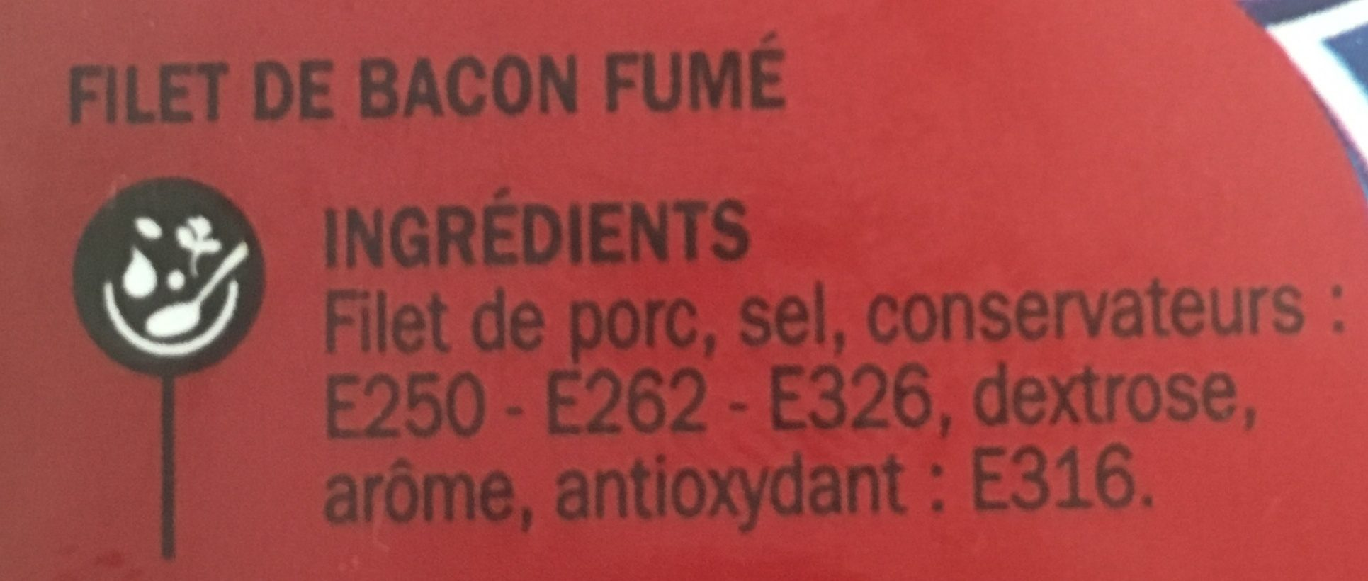 Bacon 10 tranches - Ingredients - fr