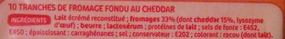 Tranches de fromage fondu au cheddar pour hamburger x 10 - Ingrediënten - fr