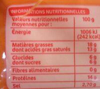Tranches de fromage fondu au cheddar pour hamburger x 10 - Voedingswaarden - fr