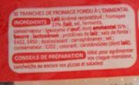 Tranches de fromage fondu à l'emmental pour croque-monsieur x 10 - Ingrediënten