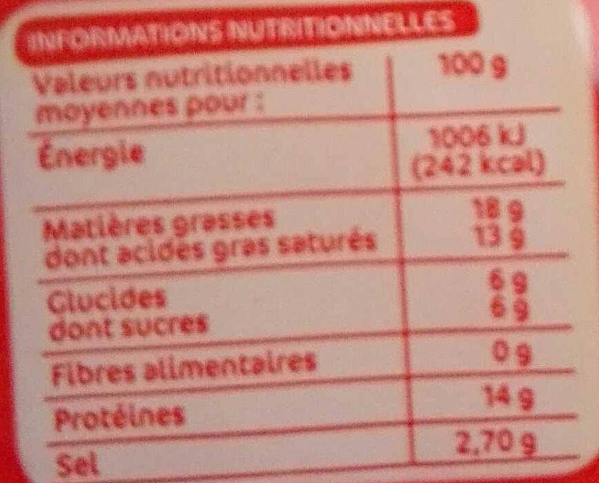 Tranches de fromage fondu à l'emmental pour croque-monsieur x 10 - Voedingswaarden