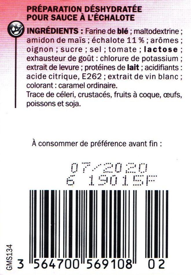 Sauce Échalote à préparer avec de l'eau - Ingrédients