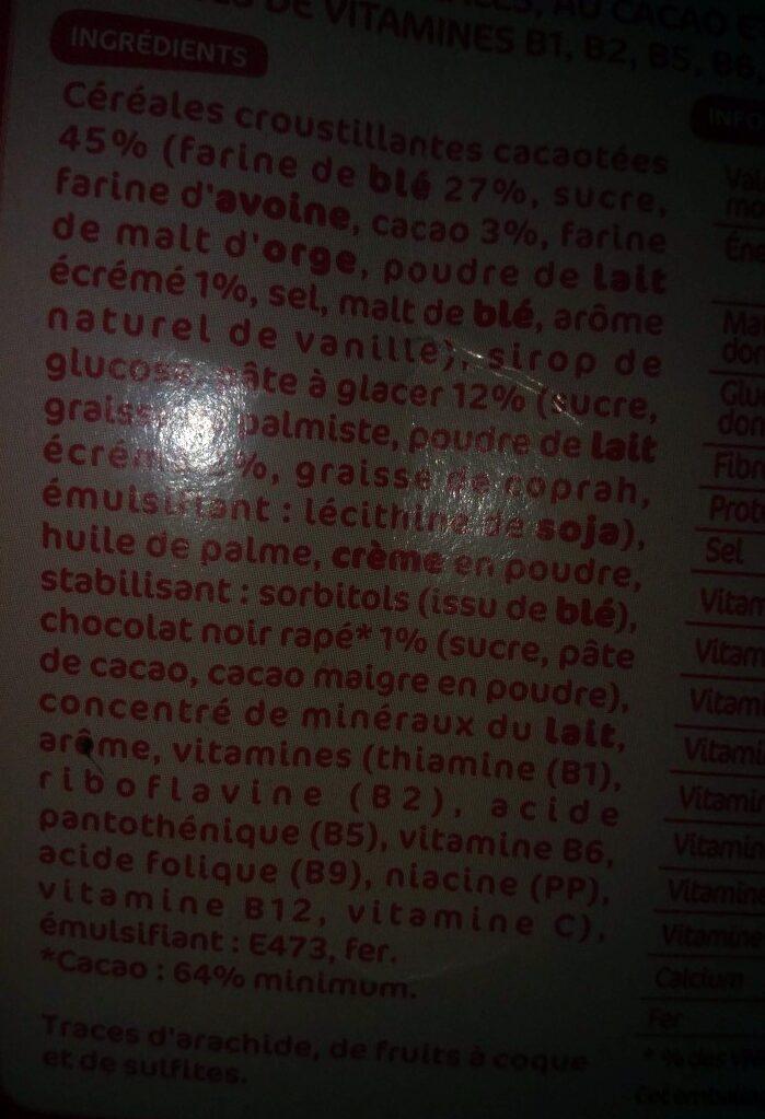 6 barres de céréales boules goût chocolat et lait - Ingrédients - fr