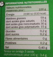 Matière grasse 59 % Mat. Gr. Riche en oméga 3 - Voedingswaarden - fr