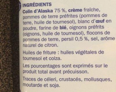 Hachés au colin au citron et persil x 2 - Ingrédients - fr