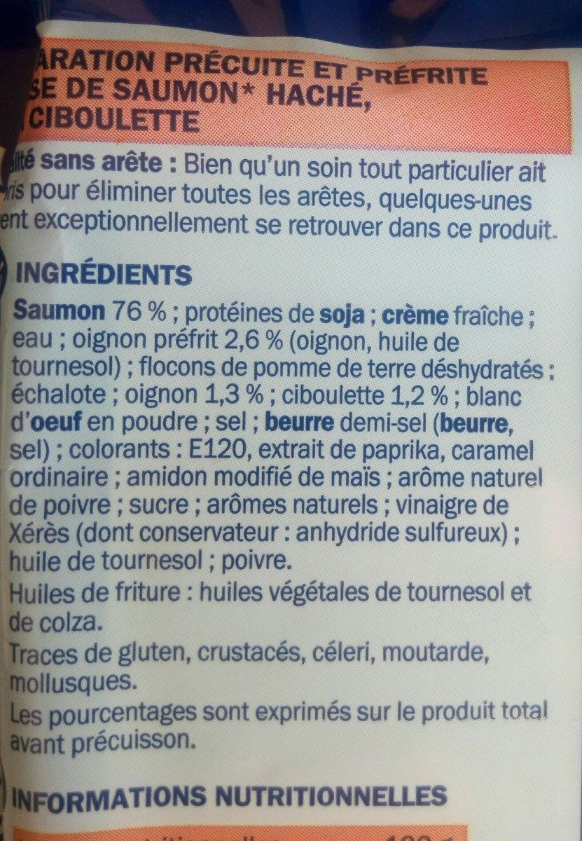 Hachés au saumon à la ciboulette x 2 - Ingrédients - fr