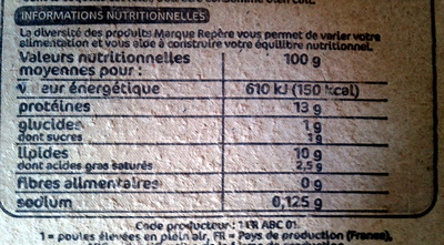 Oeufs plein air Label Rouge x6 - Nutrition facts