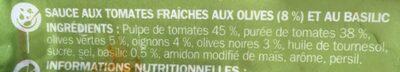 Sauce tomate olives et basilic - Ingrédients - fr