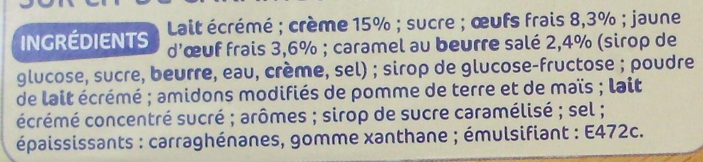 Créme aux oeufs sur lit de caramel - Ingredients - fr