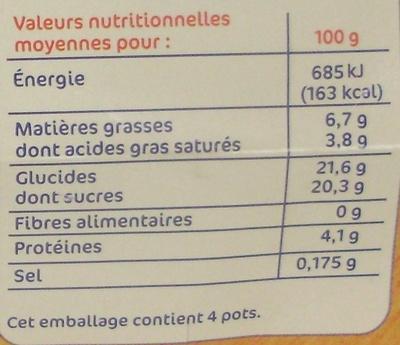 Créme aux oeufs sur lit de caramel - Nutrition facts - fr