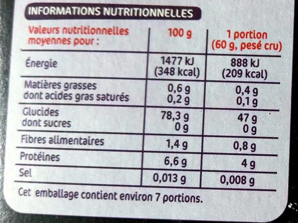 Riz long blanchi basmati x 5 sachets - Valori nutrizionali - fr
