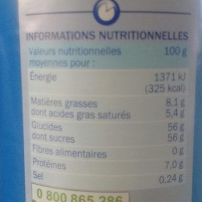 Lait entier concentré sucré - Informations nutritionnelles