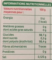 Edulcorant de table à base de stévia x 40 sticks - Informations nutritionnelles
