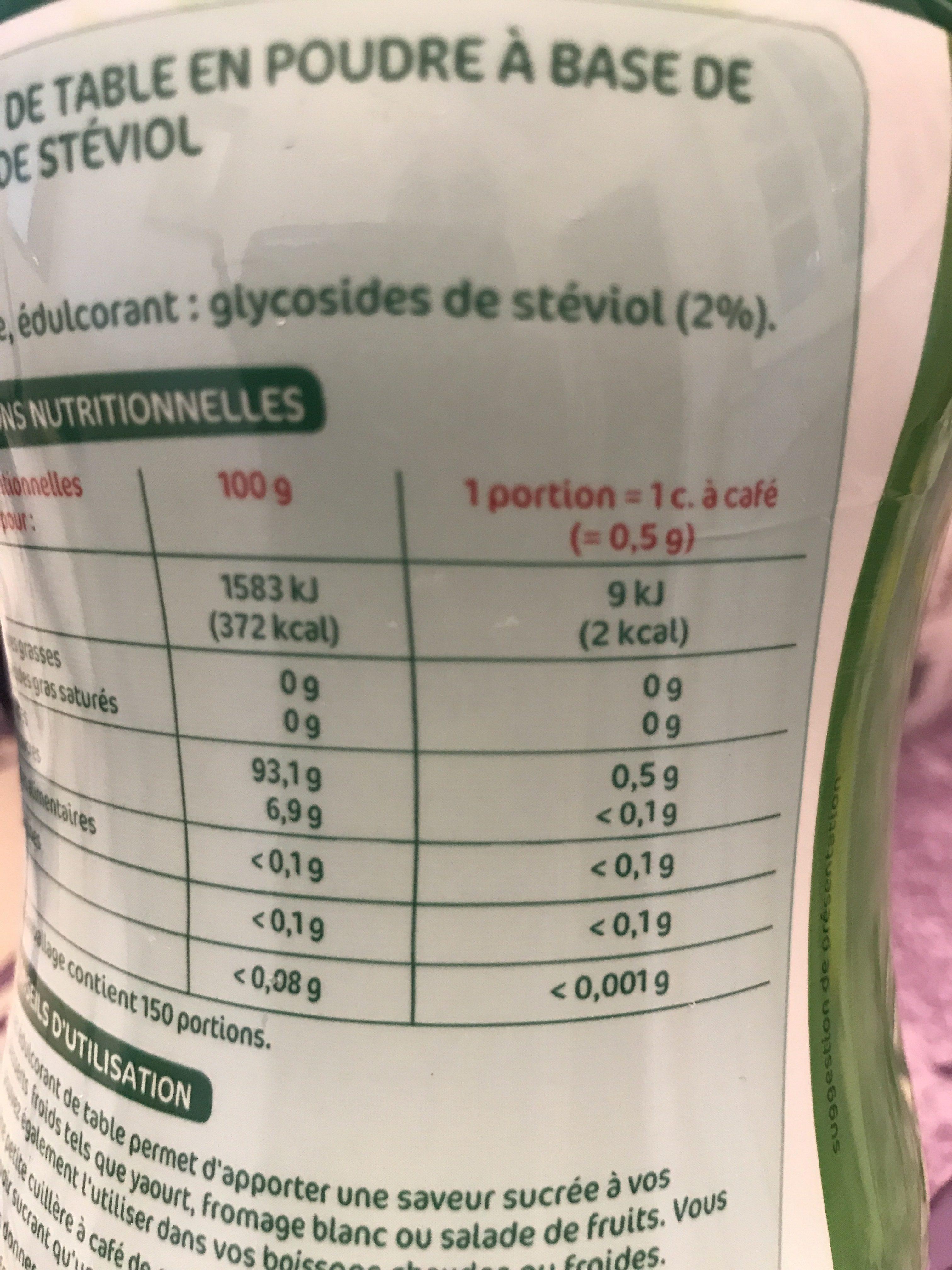Edulcorant table poudre 75g Stevia - Ingrediënten - fr