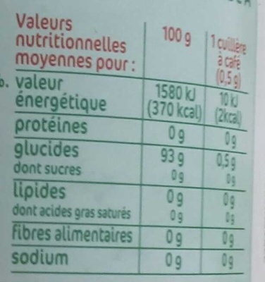 Edulcorant table poudre 75g Stevia - Voedigswaarden