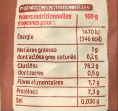Selection 3 riz - Informations nutritionnelles - fr