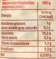 Sélection de 3 riz - Informations nutritionnelles - fr
