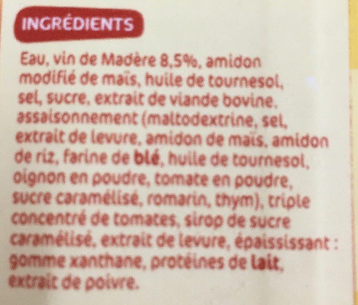Sauce Madère - Ingrédients - fr