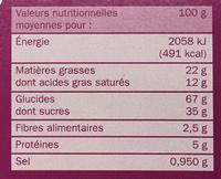 Biscuits cacaotés fourrés goût vanille - Informations nutritionnelles