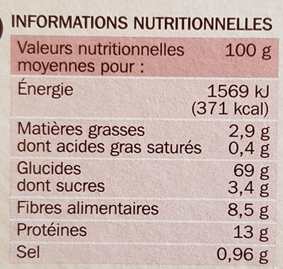 Tartines craquantes au blé complet - Nutrition facts