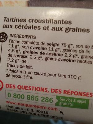 Tartines croustillantes aux céréales - Ingredients - fr