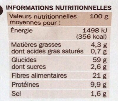 Tartines croustillantes aux céréales - Nutrition facts