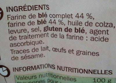 Petits pains grillés au blé complet sans sucres ajoutés - Ingrédients - fr