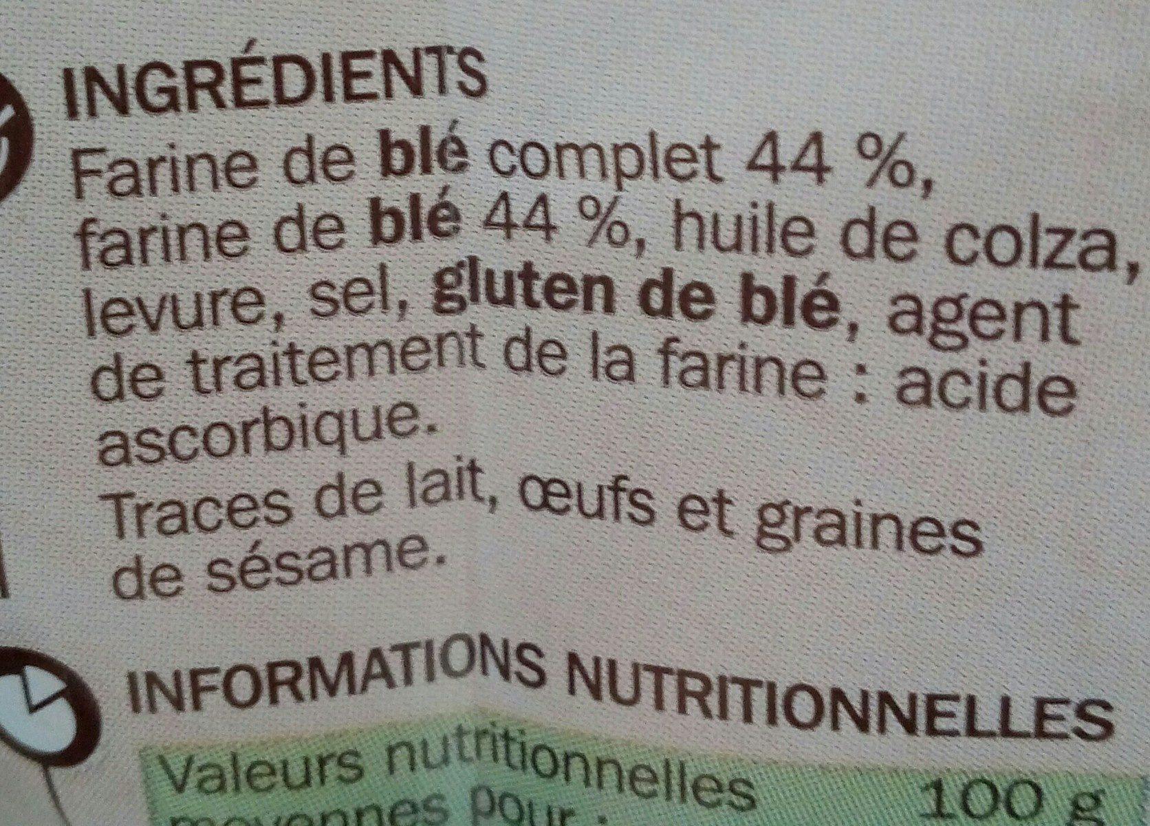 Petits pains grillés au blé complet sans sucres ajoutés - Ingrediënten