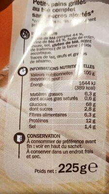 Petits pains grillés au blé complet sans sucres ajoutés - Informations nutritionnelles - fr
