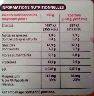 Duo céréale et graines (quinoa et boulgour) - Voedingswaarden - fr
