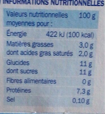 Fromage blanc sucré - Informations nutritionnelles - fr