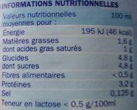 Lait demi-écrémé réduit en lactose bouteille - Informations nutritionnelles - fr