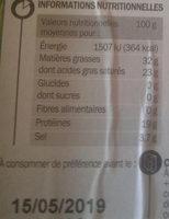 Roquefort AOP 32% Mat. Gr. - Voedingswaarden - fr