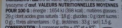 Grana padano 28 % Mat. Gr. - Informations nutritionnelles
