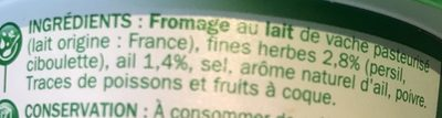 Fromage à tartiner ail et fines herbes 24%mg - Ingredients