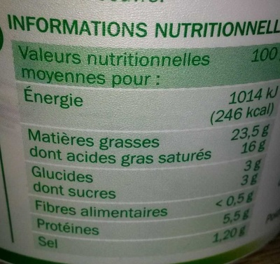 Fromage à tartiner ail et fines herbes 24%mg - Nutrition facts
