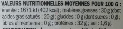 Parmigiano reggiano 28 % Mat. Gr. - Valori nutrizionali