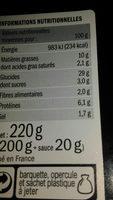 Mini nems poulet et porc x10 - Informations nutritionnelles - fr