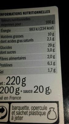 Mini nems poulet et porc x10 - Informations nutritionnelles