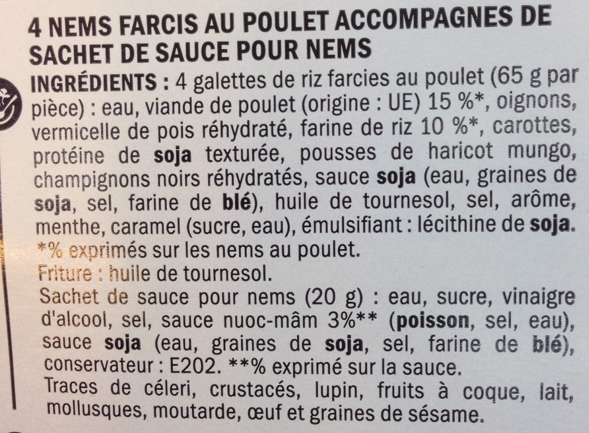 Nems au poulet x4 - Ingredients - fr