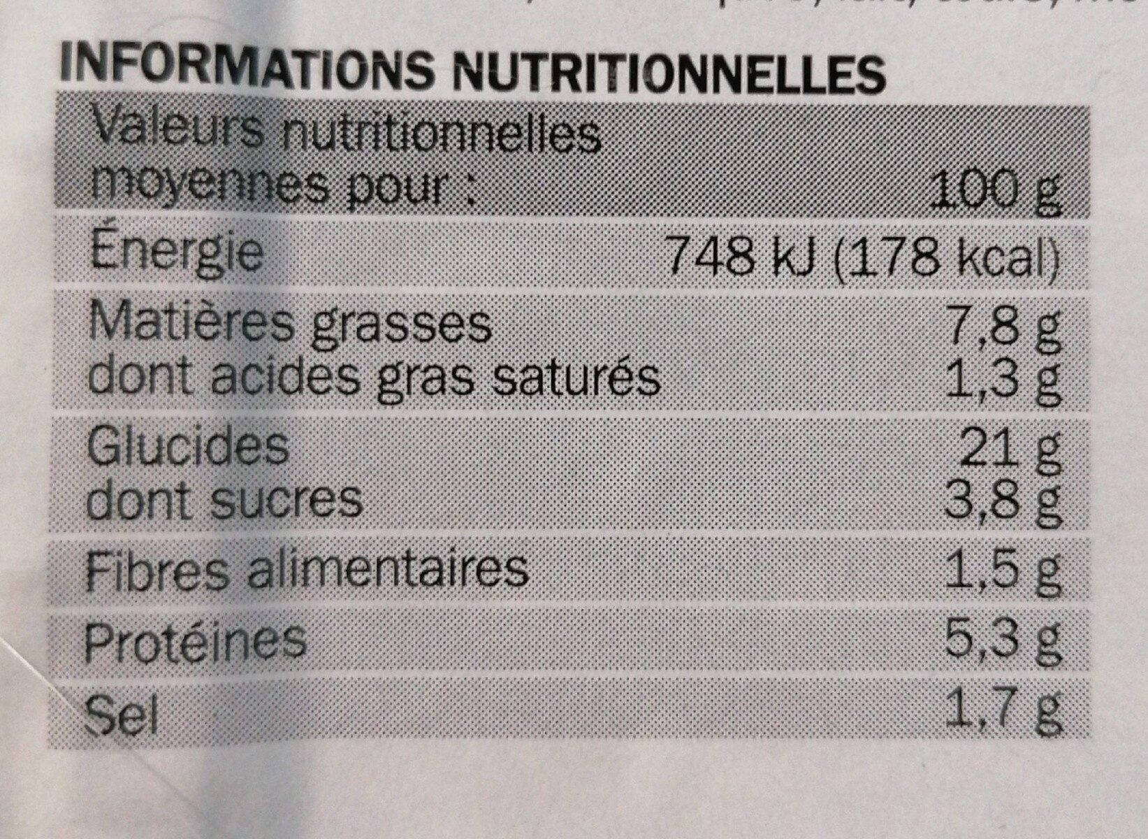 Nems au poulet x4 - Nutrition facts - fr