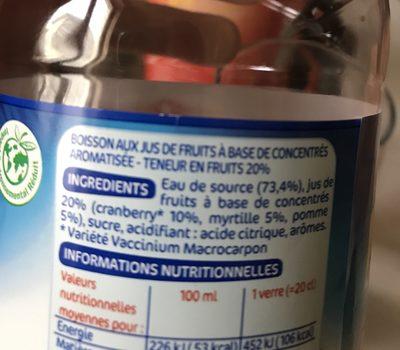 Boisson cranberry myrtille - Ingredients