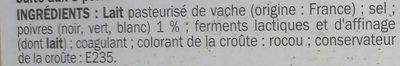 Raclette 3 poivres 26 % Mat. Gr. - Ingrédients - fr