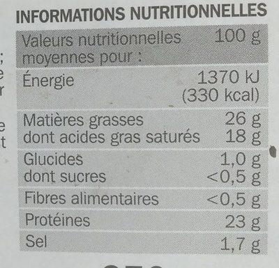Raclette 3 poivres 26 % Mat. Gr. - Informations nutritionnelles - fr