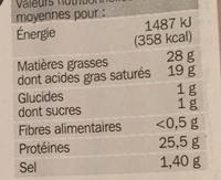 Raclette nature sans croûte - Nutrition facts