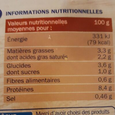 Colin d'Alaska à la Parisienne - Informations nutritionnelles - fr