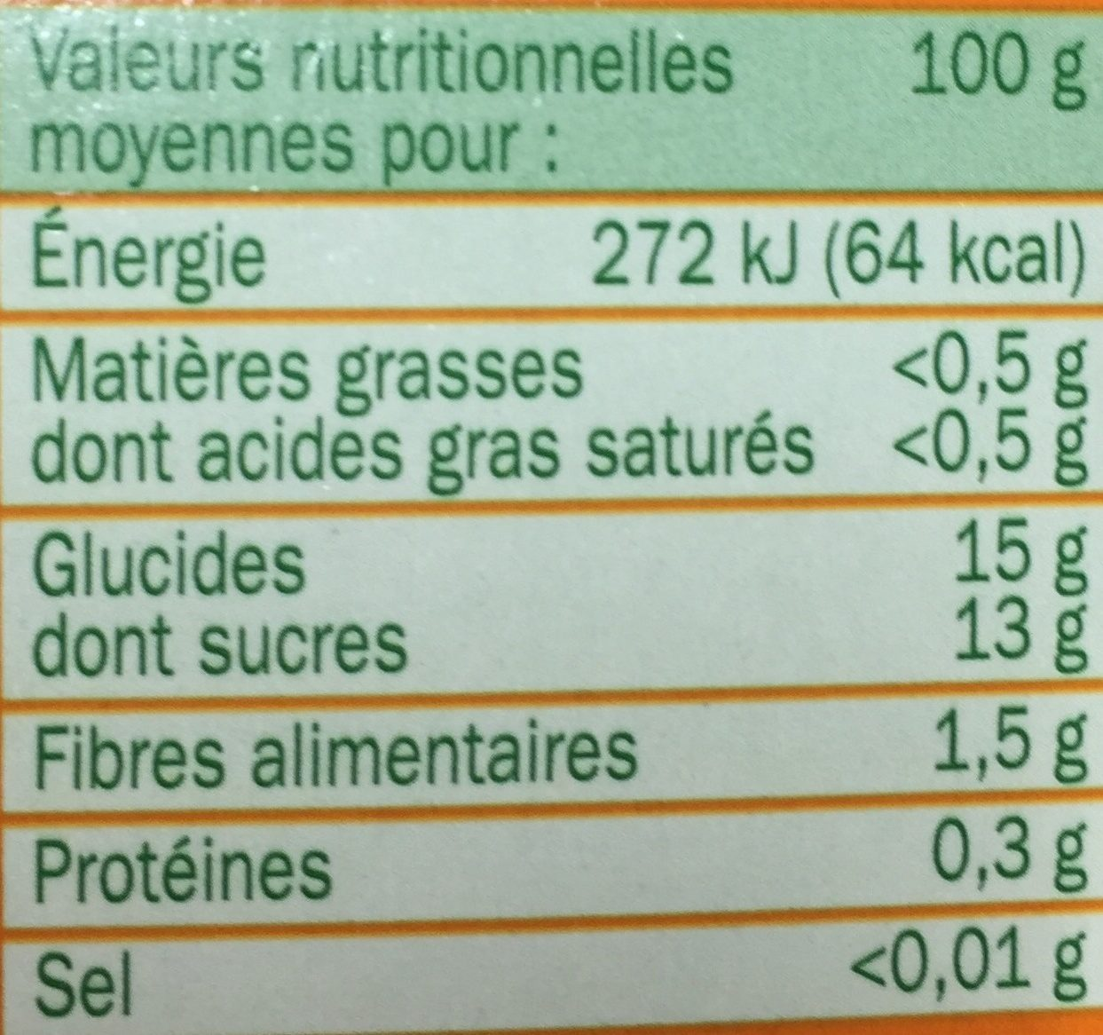 Spécialité fruits pom abricot - Nutrition facts