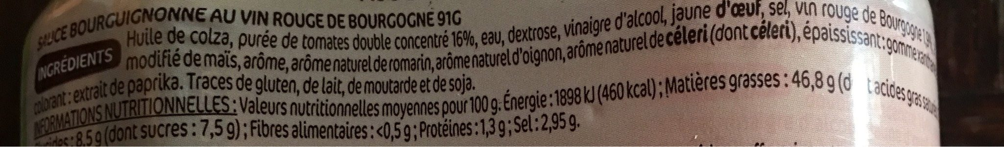 Sauces gourmandes pour viandes 90 ml x 4 - Informations nutritionnelles - fr