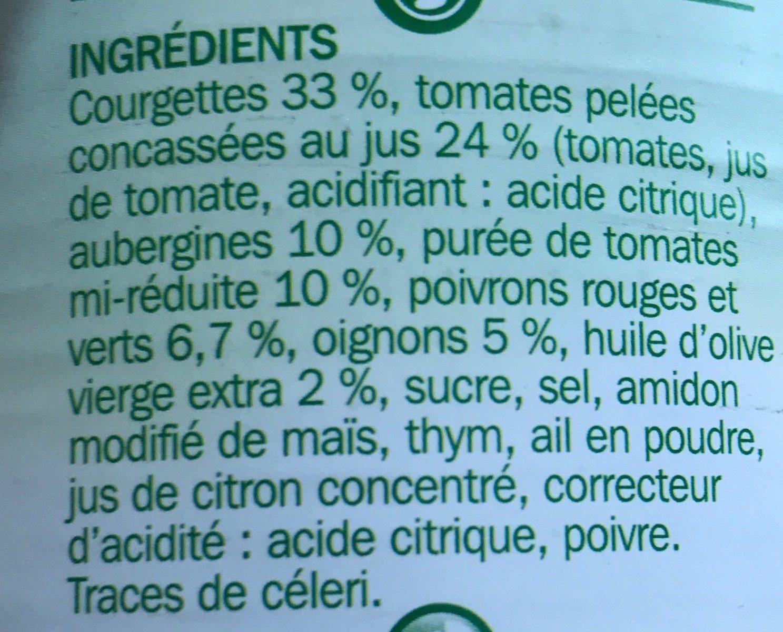 Ratatouille à la niçoise 1/2 - Ingredients