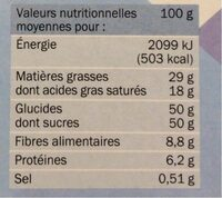 Chocolat noir fleur de sel - Valori nutrizionali - fr